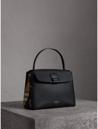 Burberry Medium Grainy Leather and House Check Tote Bag, Black