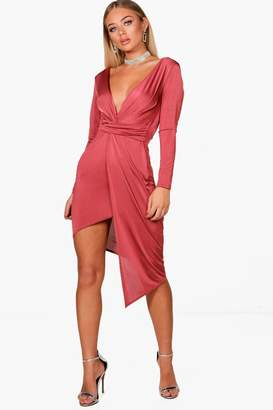 boohoo Slinky Asymmetric Wrap Midi Dress