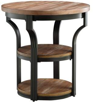 ACME Furniture ACME Geoff End Table (2 Shelves), Oak & Black