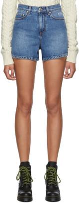 MSGM Blue Denim Bermuda Shorts