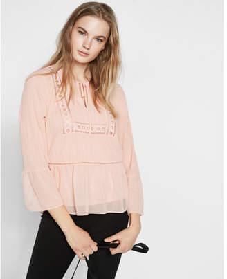 Express crochet bell sleeve blouse