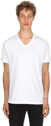 Diesel V Neck Cotton Jersey Basic T-Shirt