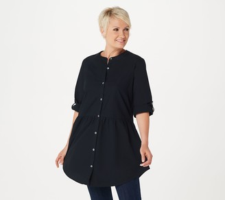 Logo By Lori Goldstein LOGO by Lori Goldstein Woven Button Front Tunic w/ Waist Seam
