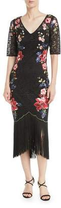 Rickie Freeman For Teri Jon Embroidered Floral Lace Dress w/ Fringe