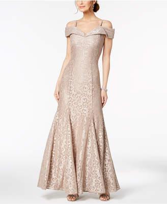 R & M Richards Off-The-Shoulder Lace Gown, Regular & Petite Sizes