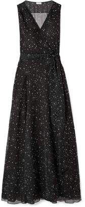 Eywasouls Malibu - Lara Printed Chiffon Wrap Maxi Dress - Black