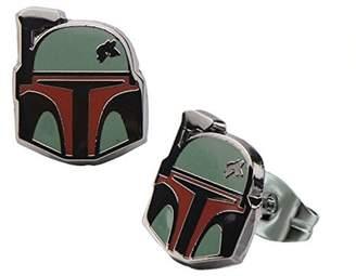 Disney Star Wars Stainless Steel Boba Fett Helmet Enamel Stud Earrings
