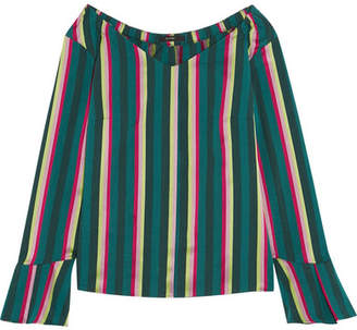 Etro - Striped Cotton-blend Poplin Top - Green $530 thestylecure.com