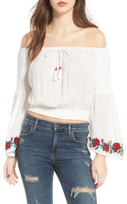 Women's Band Of Gypsies Embroidered Off-The-Shoulder Crop Top $64 thestylecure.com