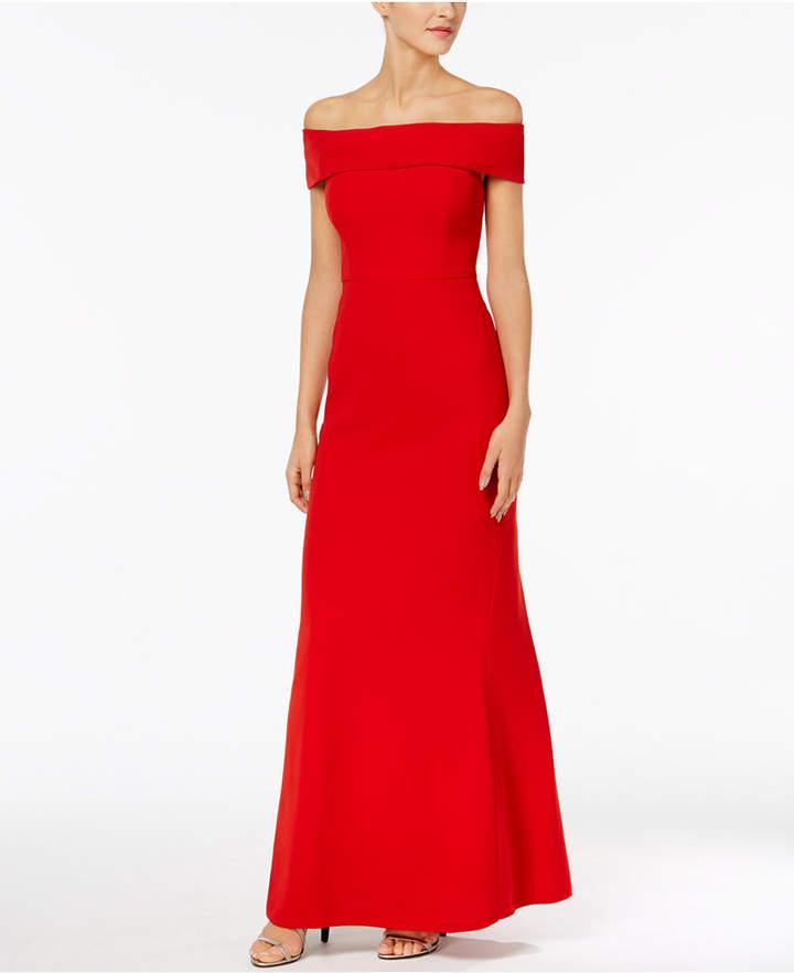Calvin Klein Foldover Off-The-Shoulder Gown