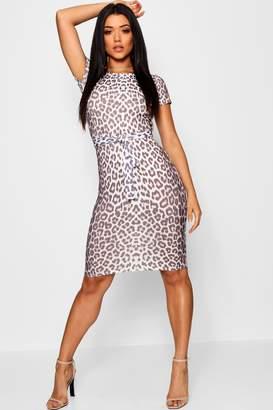 0f88677b7e01 boohoo Leopard Belted Tailored Midi Dress