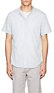 Barneys New York Men's Band-Collar Cotton Shirt - Lt. Blue