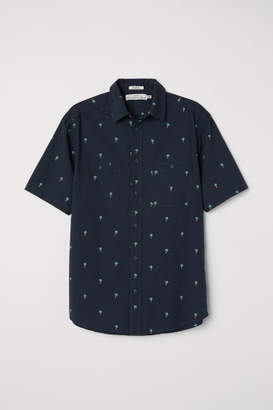 H&M Regular Fit Short-sleeve Shirt - Black