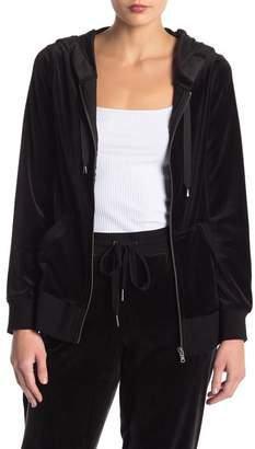 Cable & Gauge Velour Zip Hooded Jacket