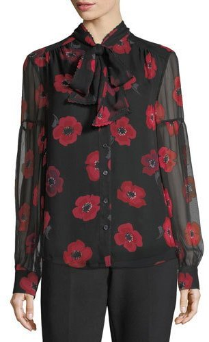 Kate Spade New York Long-Sleeve Tie-Neck Poppy Chiffon Silk Blouse