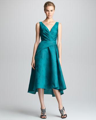 Lela Rose Wrapped Jacquard Dress