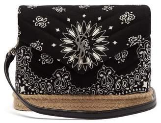 Saint Laurent Loulou Bandana Print Espadrille Shoulder Bag - Womens - Black White