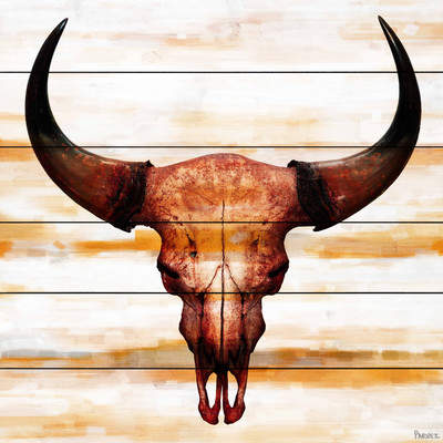 Wayfair 'Burnt Orange Skull' by Parvez Taj Painting Print on White Wood
