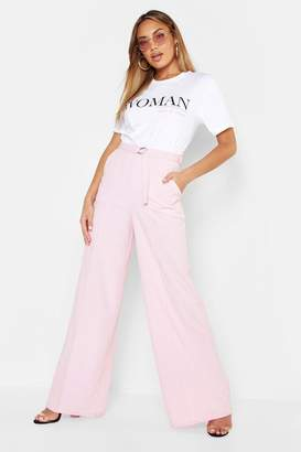 boohoo Belted High Waist Wide Leg Pants