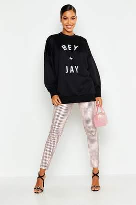 boohoo Bey And Jay Slogan Sweatshirt