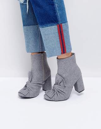 Glamorous Gray Knotted Bow Heeled Ankle Boots