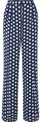 MICHAEL Michael Kors Polka-dot Georgette Wide-leg Pants - Navy