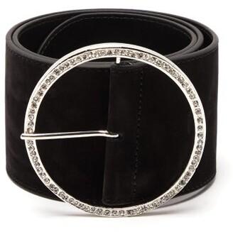 Alessandra Rich Embellished Buckle Suede Belt - Womens - Black