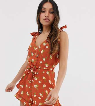 Miss Selfridge Petite playsuit with shoulder ties in floral print