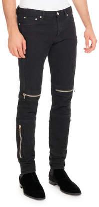 Givenchy Distressed Denim Biker Skinny Jeans, Black $890 thestylecure.com