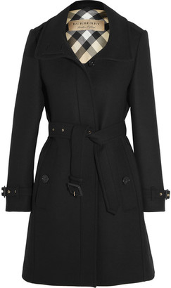 Burberry - Leather-trimmed Wool-blend Twill Coat - Black $1,095 thestylecure.com