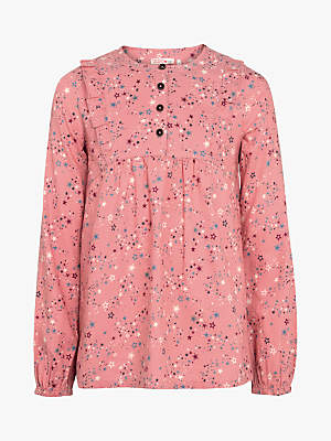 Fat Face Girls' Lucy Star Print Blouse, Dusky Pink