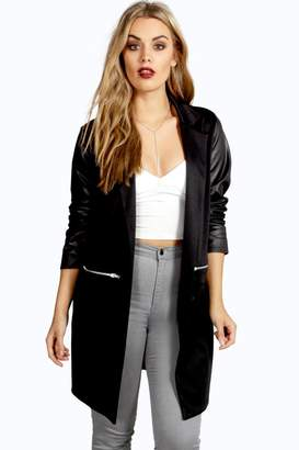 boohoo Plus PU Sleeve Jersey Duster Jacket