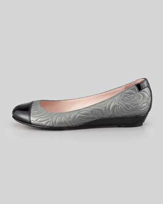 Taryn Rose Pamona Metallic Quilted Cap-Toe Wedge Flat, Pewter