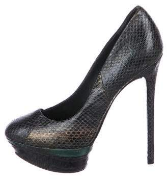 Brian Atwood Embossed Leather Platform Pumps