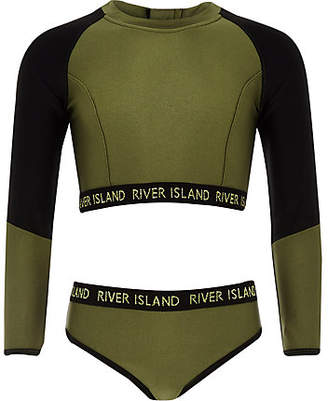 River Island Girls khaki RI crop bikini set