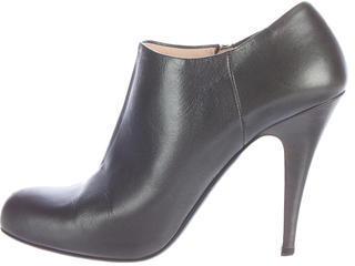 pradaPrada Leather Round-Toe Booties
