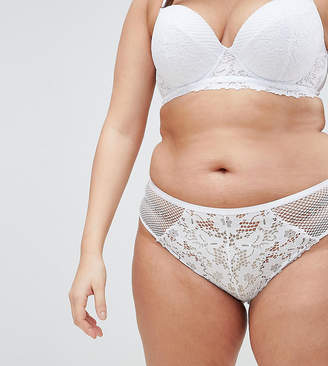 New Look Plus Curve cotton lace brazilian brief in white