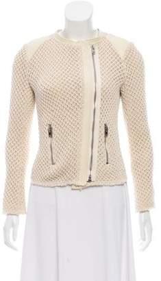 IRO Leather-Trimmed Crochet Jacket