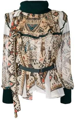 Sacai printed ruffle trim blouse