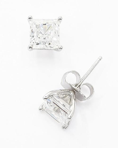 Crislu Square Princess Stud Earrings