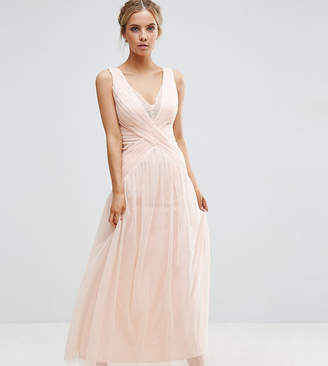 Little Mistress Petite Pleated Wrapover Maxi Dress With Lace Trim