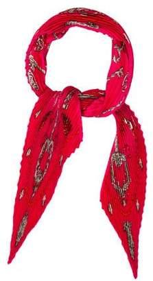 Hermes Les Cles Silk Plissé Scarf