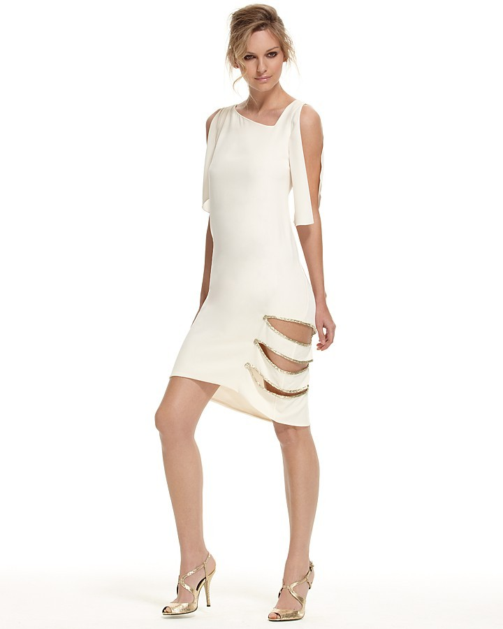 Max Azria Pebble Crepe Slash Dress