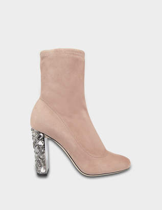 Jimmy Choo Maine Suede Booties with Crystal Heels in Ballet Pink Stretch Suede