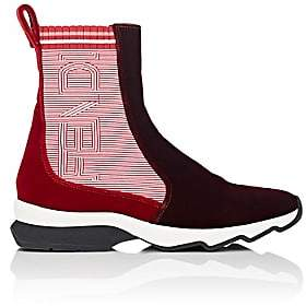 Fendi Women's Velvet Sock Sneakers - Wine