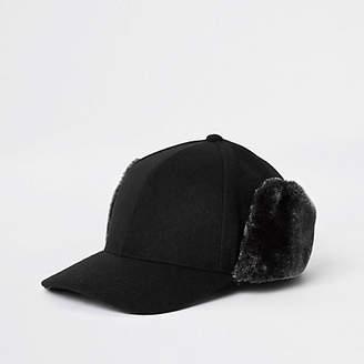 River Island Black faux fur deerstalker cap