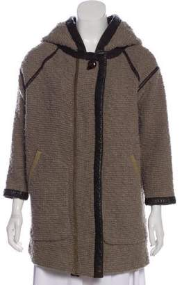 Isabel Marant Leather-Trimmed Hooded Coat