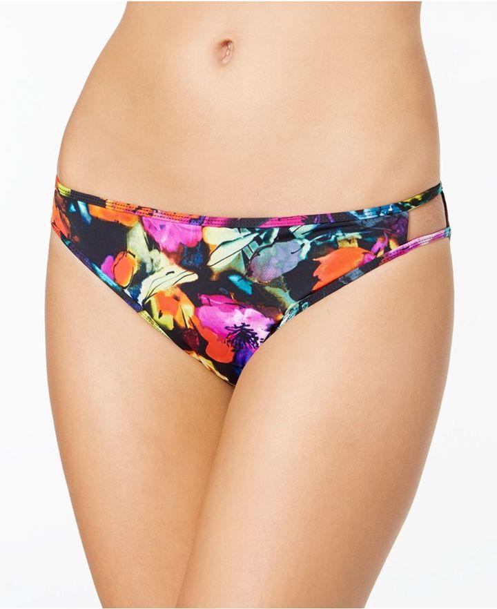 Bar III Painted Posies Cutout Hipster Bikini Bottoms, Created for Macy's