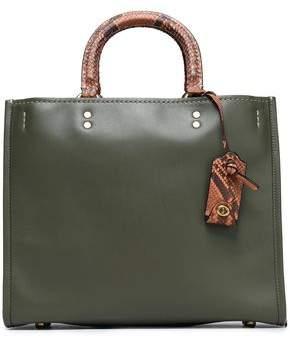 Coach Python-Trimmed Leather Shoulder Bag