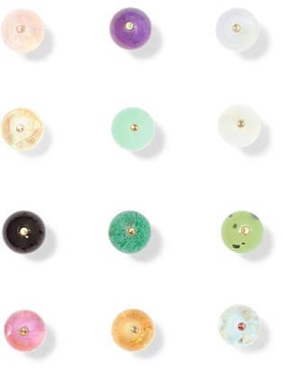 Saskia Diez Birthday Gold Stone Earrings